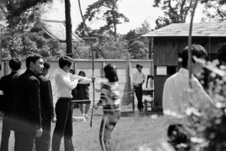 弓道場での試射 昭和47年10月7日 撮影